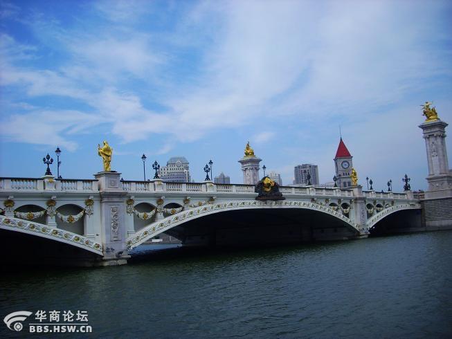 卡片几张天津北安桥的日景和夜景