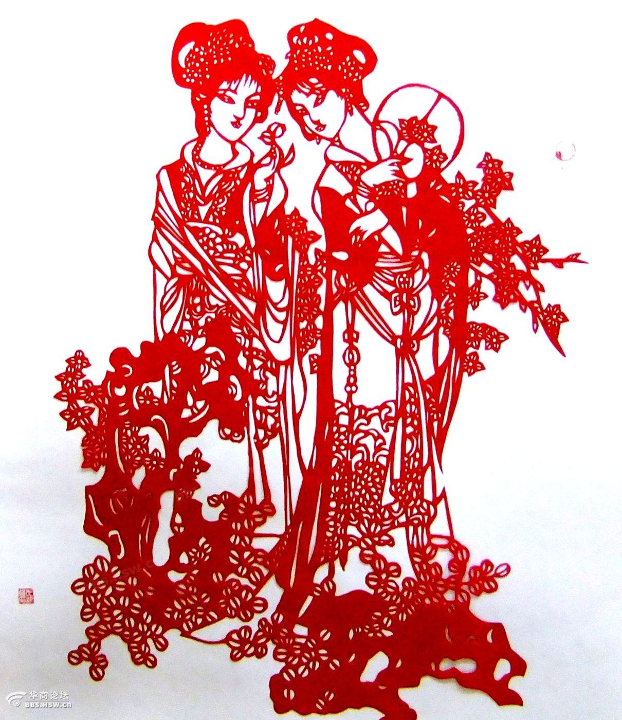 采莲侍女剪纸图案