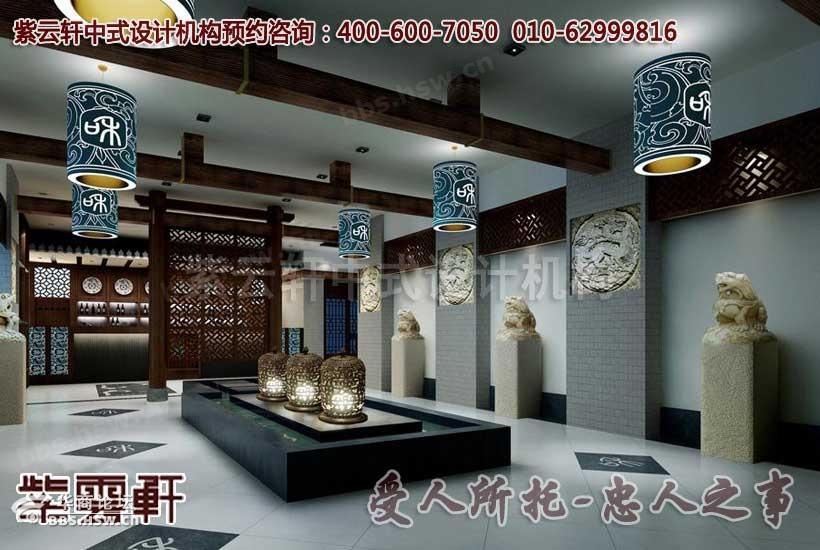 描述:古典中式茶楼中堂装修设计效果图
