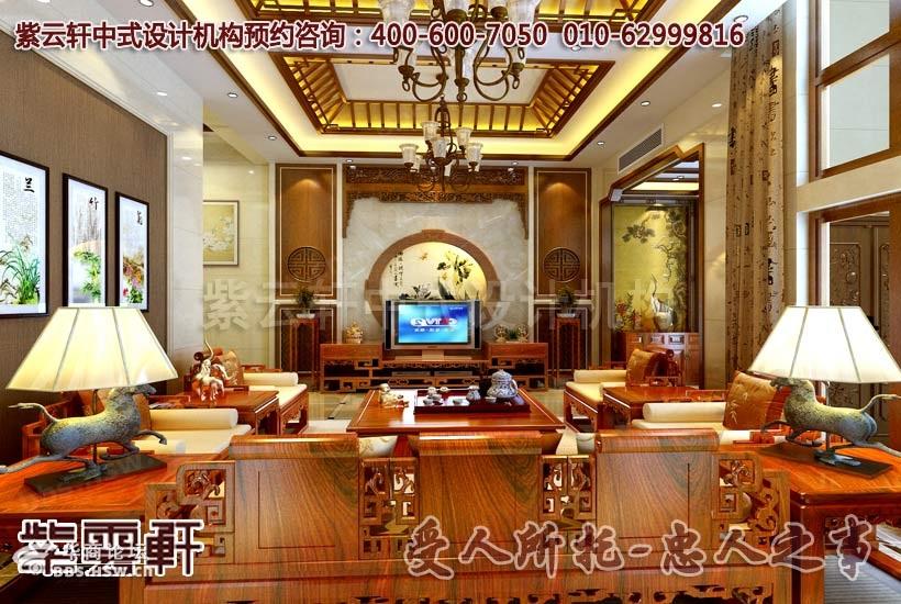 描述:现代中式别墅客厅装修设计效果图-现代中式风格别墅装修设计