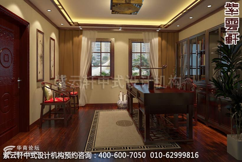 室内设计融合了庄重与优雅双重气;天花以木条相交成方格形或高清图片