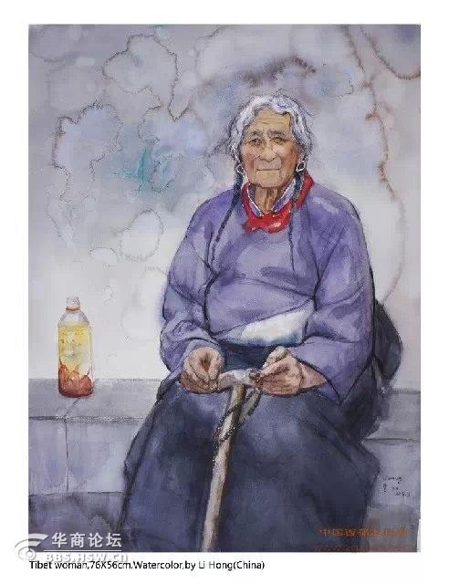 妹李虹这张人像水彩画入选第11届墨西哥国际水彩画双年展