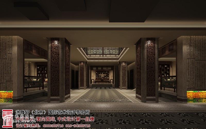 重庆现代新中式茶楼-大厅过道1装修效果图-重庆茶楼中式设计效果图,