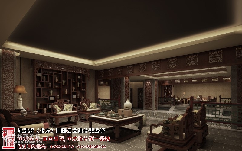 重庆茶楼中式设计效果图,体现古典文化的精髓和雅意