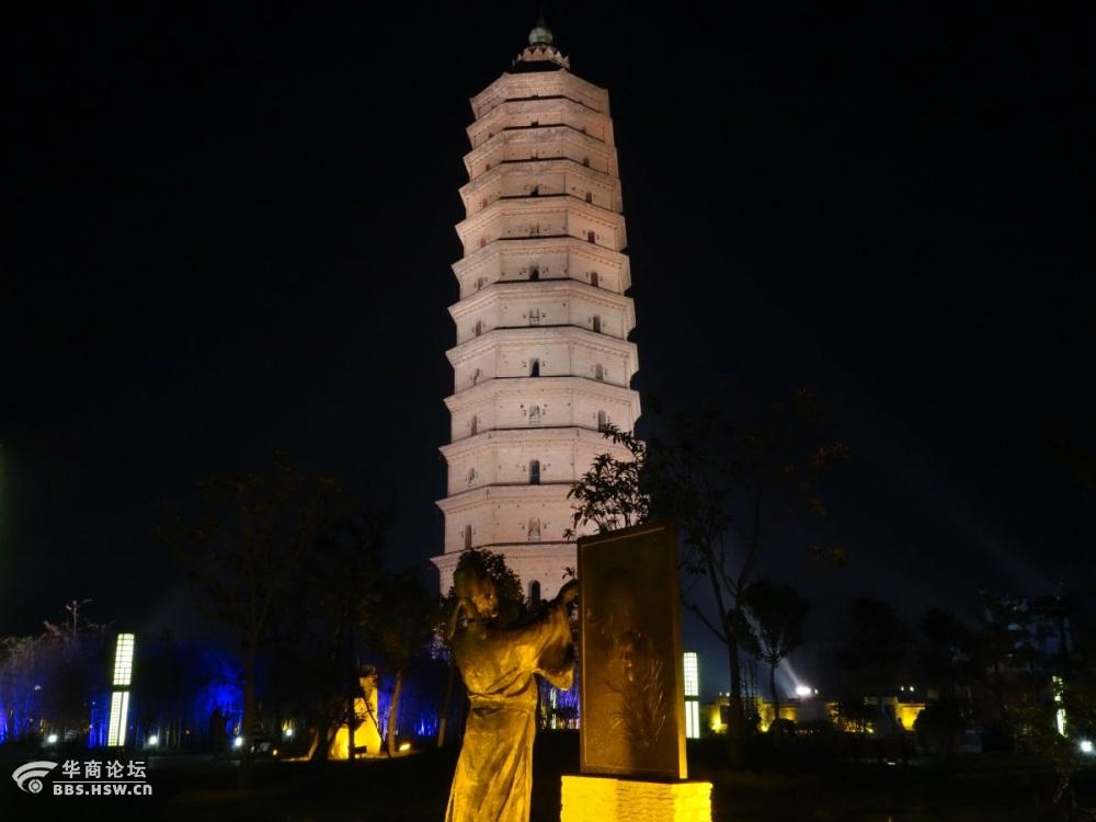 陕西泾阳崇文古塔夜景
